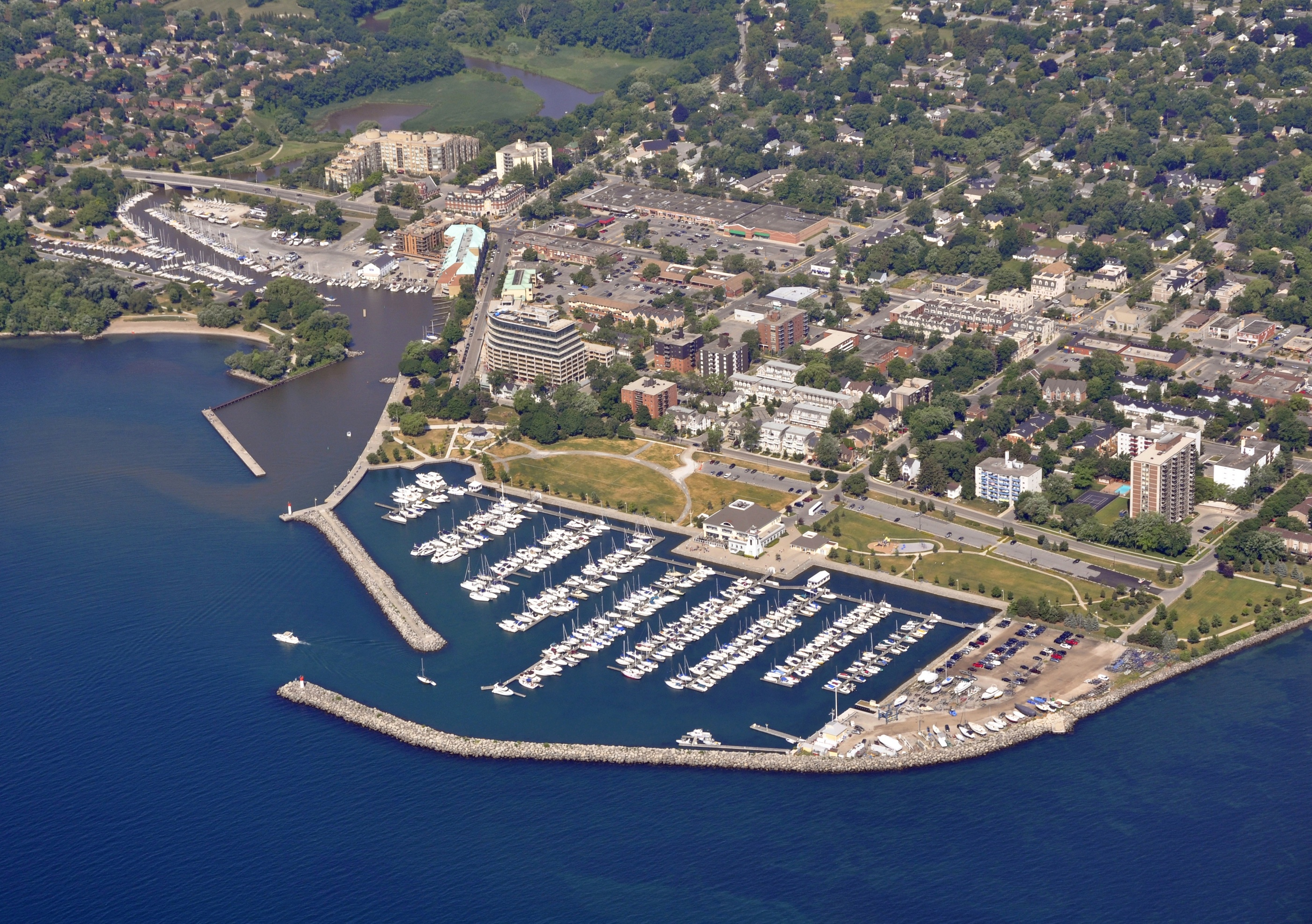 Aerial view of Oakville Bronte marina during Summer, Oakville Ontario Canada